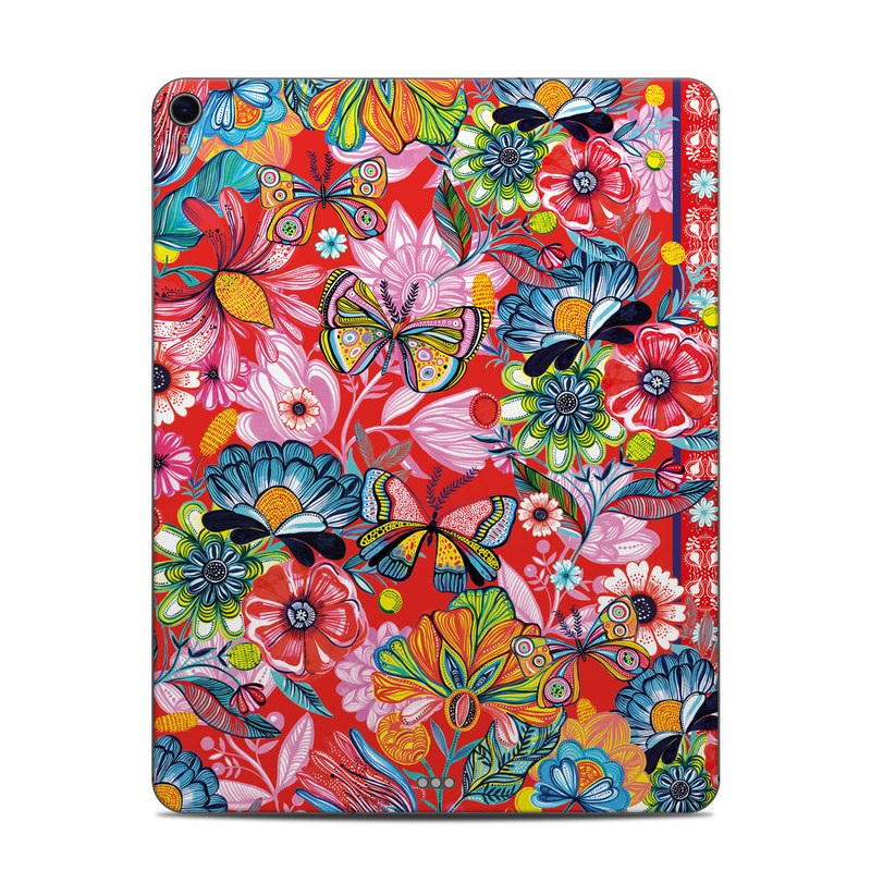 iPad Pro 12.9-inch 3rd Gen Skin design of Pattern, Textile, Visual arts, Art, Floral design, Wildflower, Plant, Motif with red, white, blue, yellow, pink, green colors