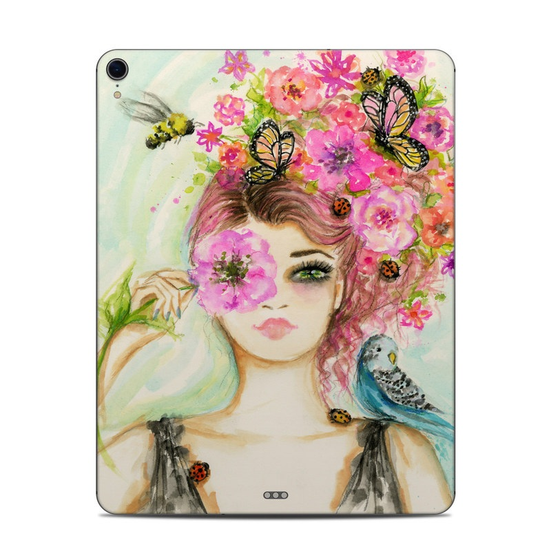iPad Pro 3rd Gen 12.9-inch Skin design of Face, Watercolor paint, Illustration, Pink, Head, Fashion illustration, Beauty, Art, Cheek, Painting with white, pink, green, blue, yellow, red, brown colors