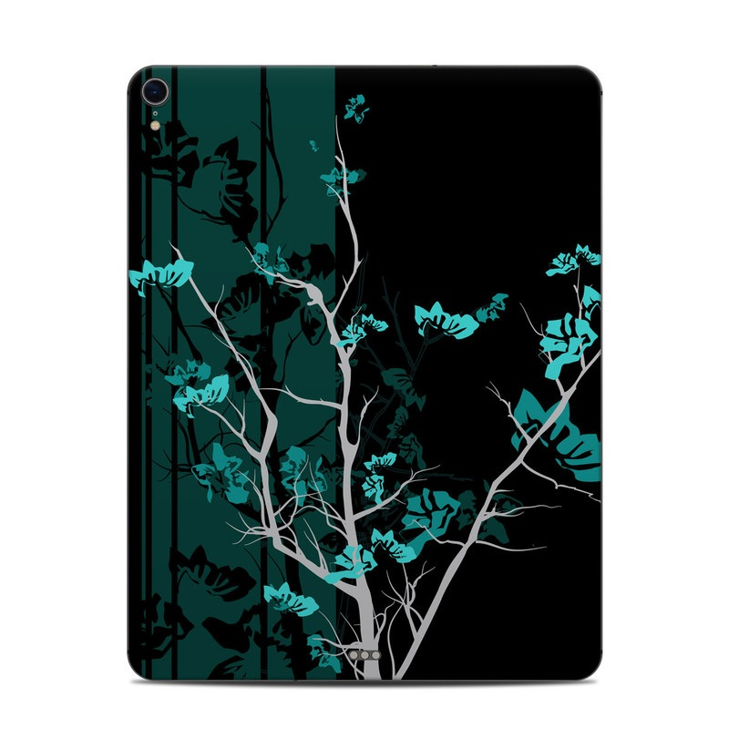 iPad Pro 3rd Gen 12.9-inch Skin design of Branch, Black, Blue, Green, Turquoise, Teal, Tree, Plant, Graphic design, Twig with black, blue, gray colors