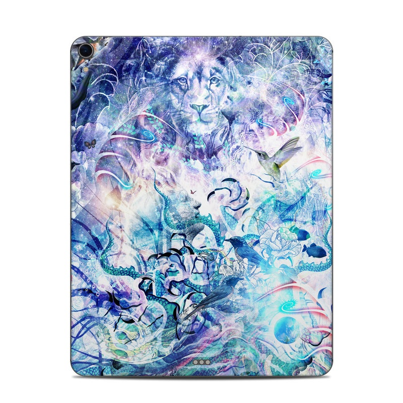 iPad Pro 3rd Gen 12.9-inch Skin design of Psychedelic art, Water, Fractal art, Art, Pattern, Graphic design, Design, Illustration, Electric blue, Visual arts with blue, purple, green, red, gray, white colors