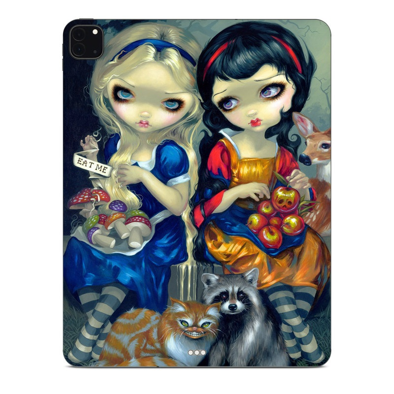 iPad Pro 12.9-inch Skin design of Doll, Cartoon, Illustration, Cat, Art, Fawn, Toy, Fictional character, Whiskers with blue, yellow, red, orange, gray colors
