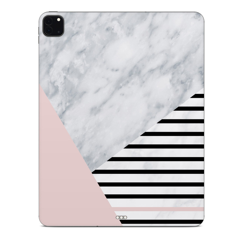 iPad Pro 12.9-inch Skin design of White, Line, Architecture, Stairs, Parallel with gray, black, white, pink colors