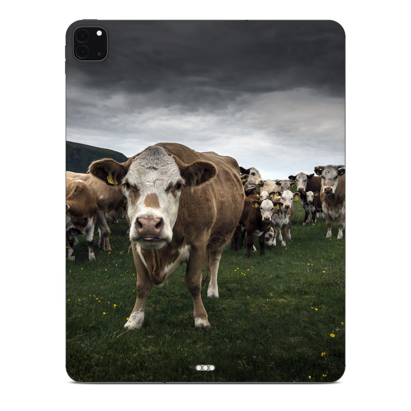 iPad Pro 12.9-inch Skin design of Herd, Bovine, Pasture, Grazing, Grassland, Dairy cow, Livestock, Meadow, Grass, Rural area with black, white, green, brown colors