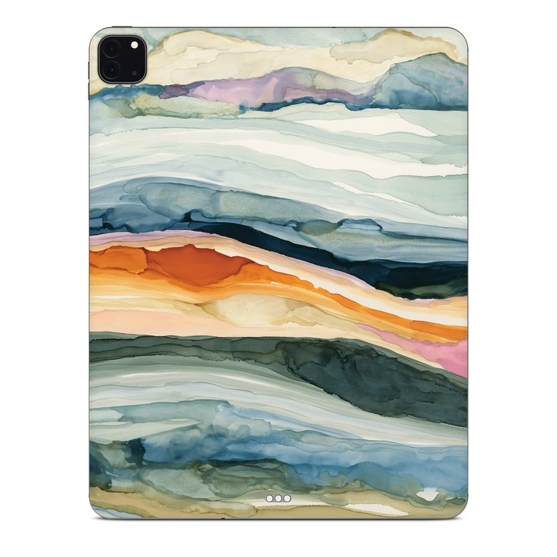 iPad Pro 12.9-inch Skin design of Watercolor paint, Painting, Sky, Wave, Geology, Landscape, Pattern, Acrylic paint, Cloud, Paint with blue, purple, orange, yellow, red, green, brown colors