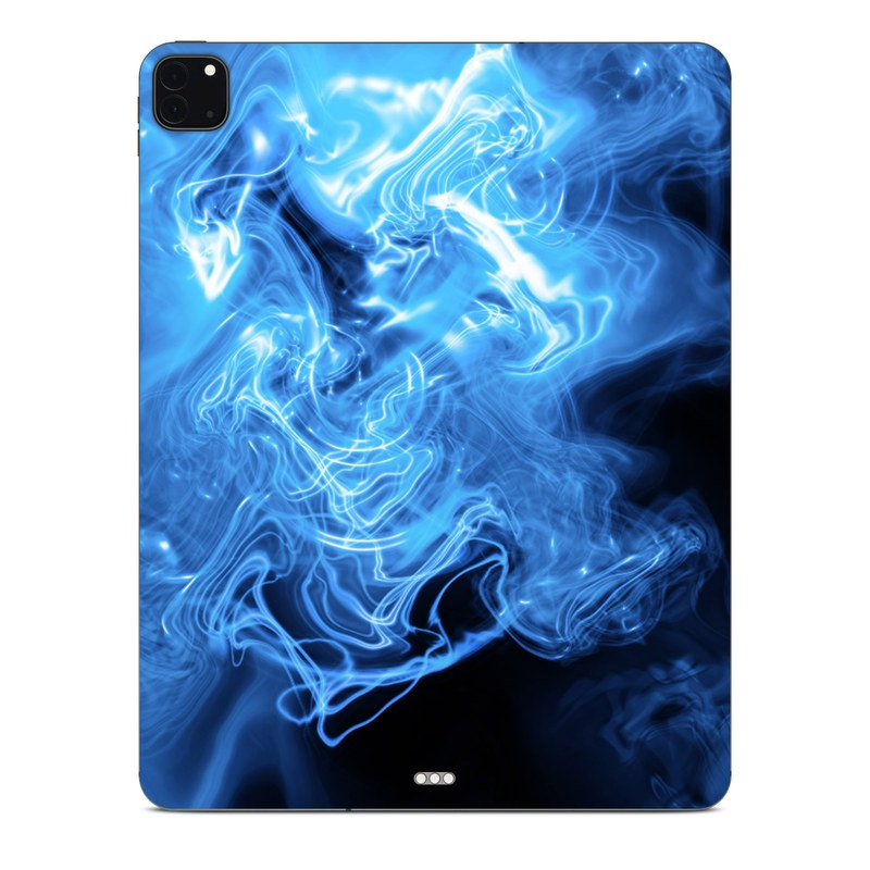 iPad Pro 12.9-inch Skin design of Blue, Water, Electric blue, Organism, Pattern, Smoke, Liquid, Art with blue, black, purple colors