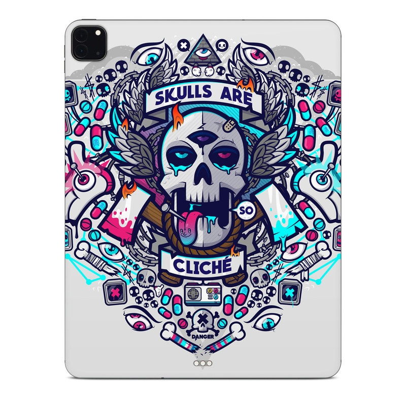 iPad Pro 12.9-inch Skin design of Skull, Illustration, Bone, Font, Graphic design, Art, Crest, Logo, Pattern, T-shirt with gray, white, black, blue, red, yellow, pink colors