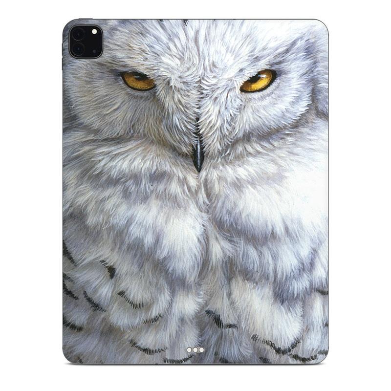 iPad Pro 12.9-inch Skin design of Owl, Bird, Bird of prey, Snowy owl, great grey owl, Close-up, Eye, Snout, Wildlife, Eastern Screech owl with gray, white, black, blue, purple colors