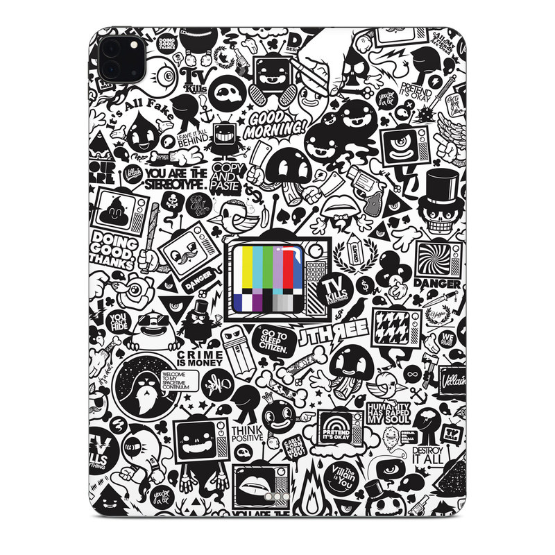 iPad Pro 12.9-inch Skin design of Pattern, Drawing, Doodle, Design, Visual arts, Font, Black-and-white, Monochrome, Illustration, Art with gray, black, white colors