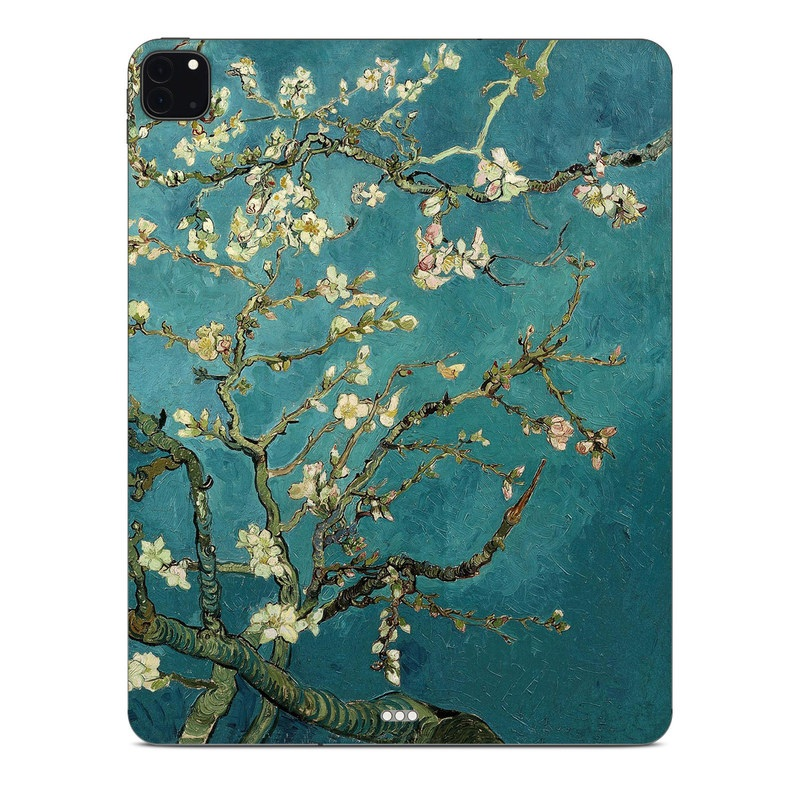 iPad Pro 12.9-inch Skin design of Tree, Branch, Plant, Flower, Blossom, Spring, Woody plant, Perennial plant with blue, black, gray, green colors