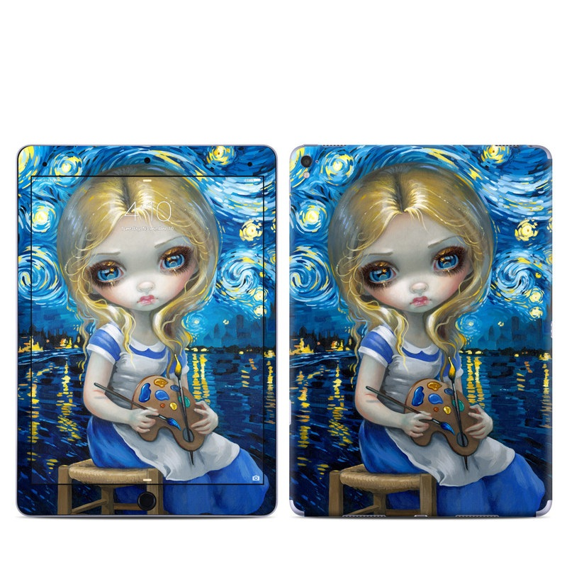 iPad Pro 9.7-inch Skin design of Blue, Illustration, Cg artwork, Doll, Art, Acrylic paint, Painting, Toy, Fictional character, Visual arts with blue, yellow, white, brown, red colors