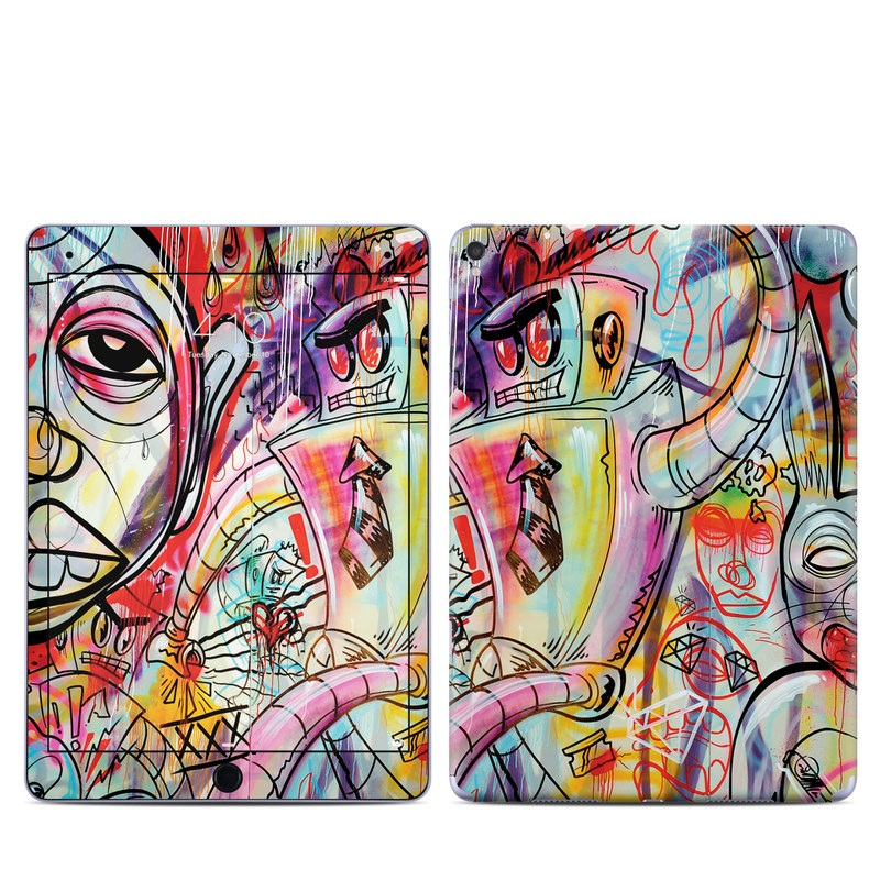 iPad Pro 9.7-inch Skin design of Modern art, Graffiti, Street art, Art, Mural, Visual arts, Psychedelic art, Painting, Drawing, Illustration with blue, red, yellow, orange, purple colors