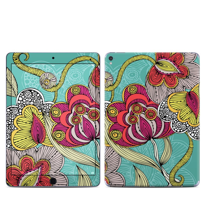 iPad Pro 1st Gen 9.7-inch Skin design of Pattern, Visual arts, Motif, Floral design, Design, Art, Plant, Flower, Organism, Textile with red, yellow, blue, gray, pink colors