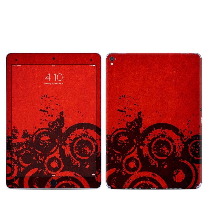 iPad Pro 9.7-inch Skin design of Red, Circle, Pattern, Design, Visual arts, Font, Graphics, Graphic design, Art, Still life photography with red, black colors