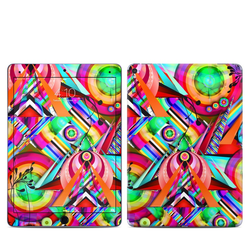 iPad Pro 9.7-inch Skin design of Psychedelic art, Pattern, Design, Graphic design, Colorfulness, Visual arts, Circle, Art with red, pink, green, yellow, orange colors