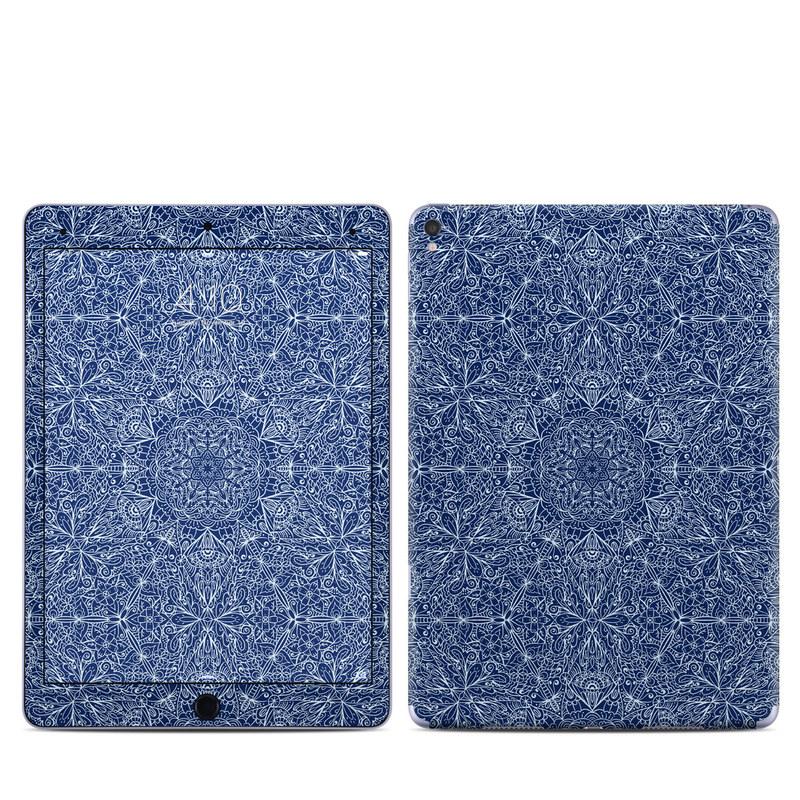 iPad Pro 1st Gen 9.7-inch Skin design of Blue, Pattern, Azure, Cobalt blue, Design, Textile, Electric blue, Wallpaper, Symmetry with blue, white colors