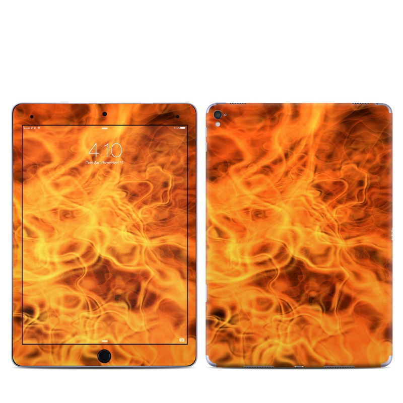 iPad Pro 1st Gen 9.7-inch Skin design of Flame, Fire, Heat, Orange with red, orange, black colors