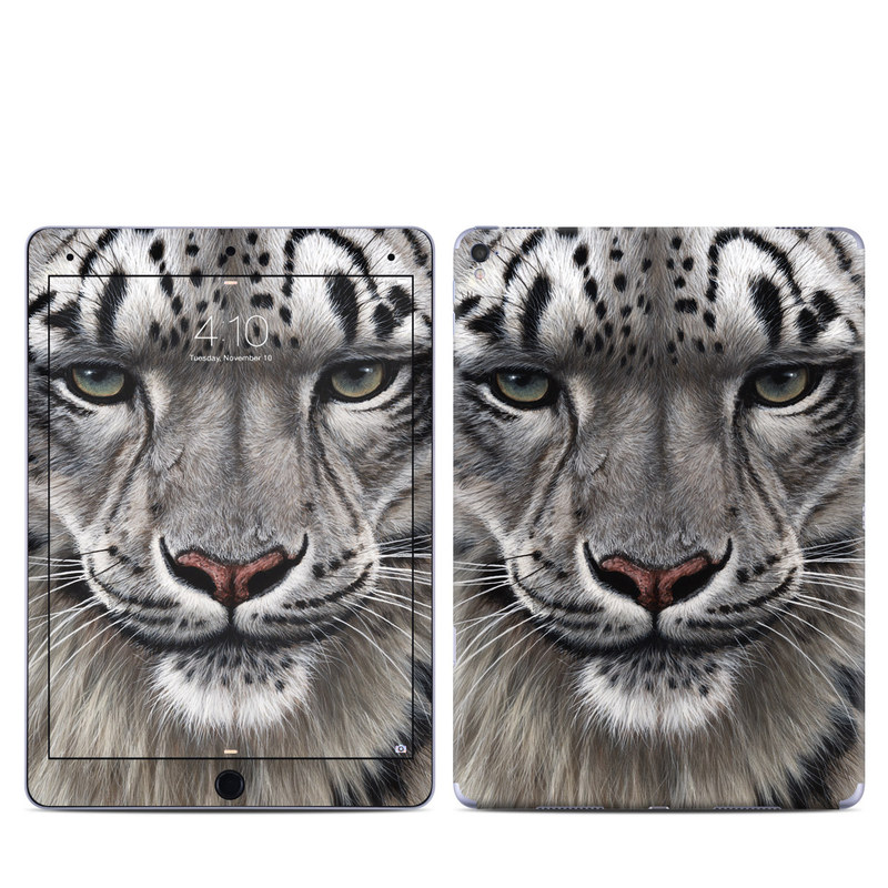 iPad Pro 9.7-inch Skin design of Mammal, Wildlife, Terrestrial animal, Vertebrate, Whiskers, Bengal tiger, Snow leopard, Felidae, Snout, Big cats with gray, black, red, green colors