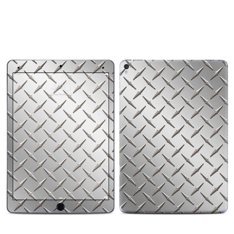 iPad Pro 9.7-inch Skin design of Pattern, Metal, Line, Design, Steel, Parallel, Tile, Beige, Flooring with gray colors