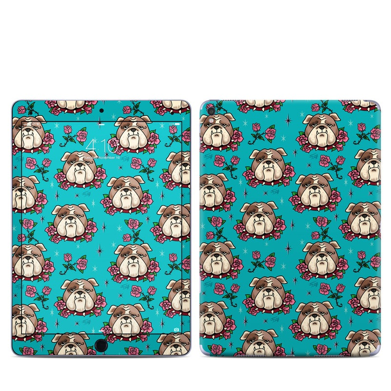 iPad Pro 1st Gen 9.7-inch Skin design of Turquoise, Pattern, Design, Textile, Wrapping paper, Fawn, Gift wrapping, Illustration, Art with blue, red, pink, white, brown colors