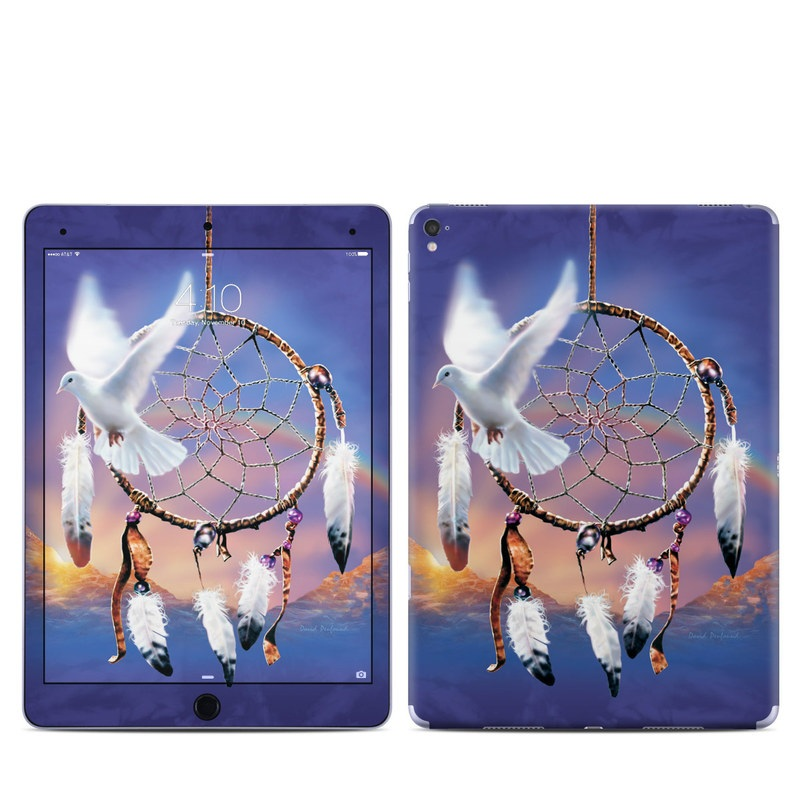 iPad Pro 9.7-inch Skin design of Feather, Sky, Wing, Fictional character, Fashion accessory, Plant, Seabird, World, Bird with blue, gray, black, red, purple colors