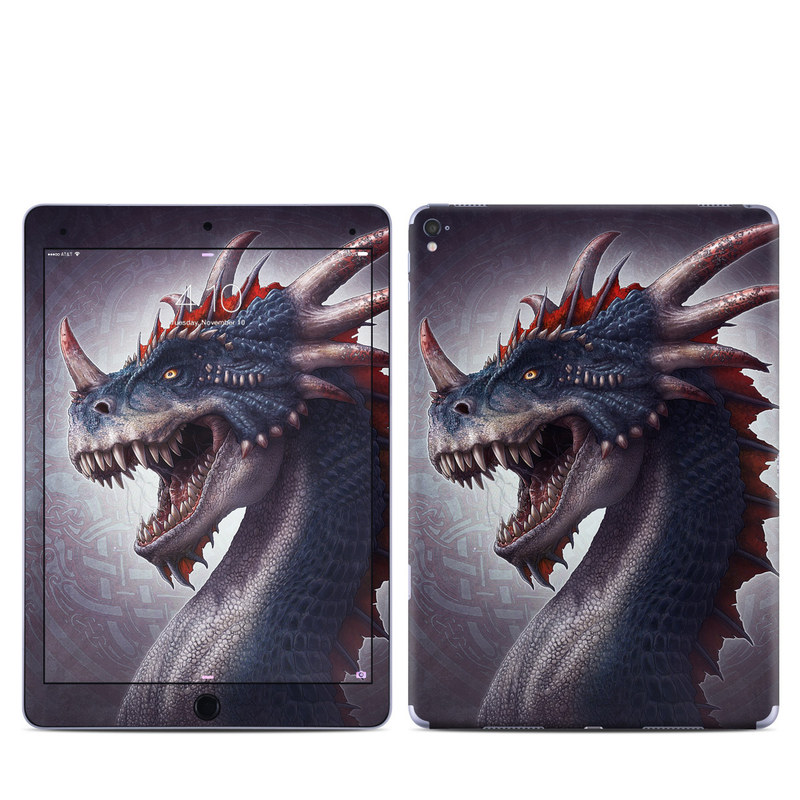 iPad Pro 9.7-inch Skin design of Dragon, Fictional character, Head, Demon, Mythical creature, Cg artwork, Supernatural creature, Extinction, Illustration, Cryptid with black, gray, blue, purple, red colors