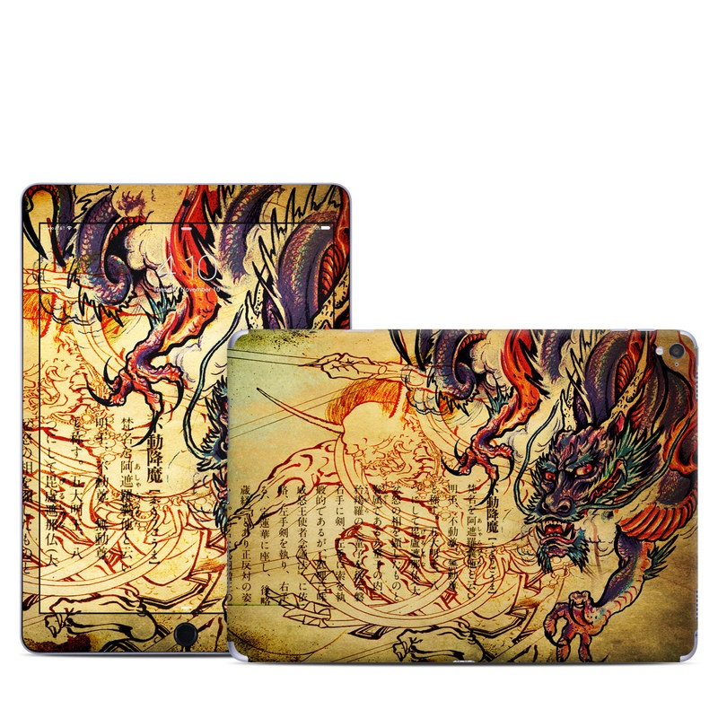 iPad Pro 1st Gen 9.7-inch Skin design of Illustration, Fictional character, Art, Demon, Drawing, Visual arts, Dragon, Supernatural creature, Mythical creature, Mythology with black, green, red, gray, pink, orange colors