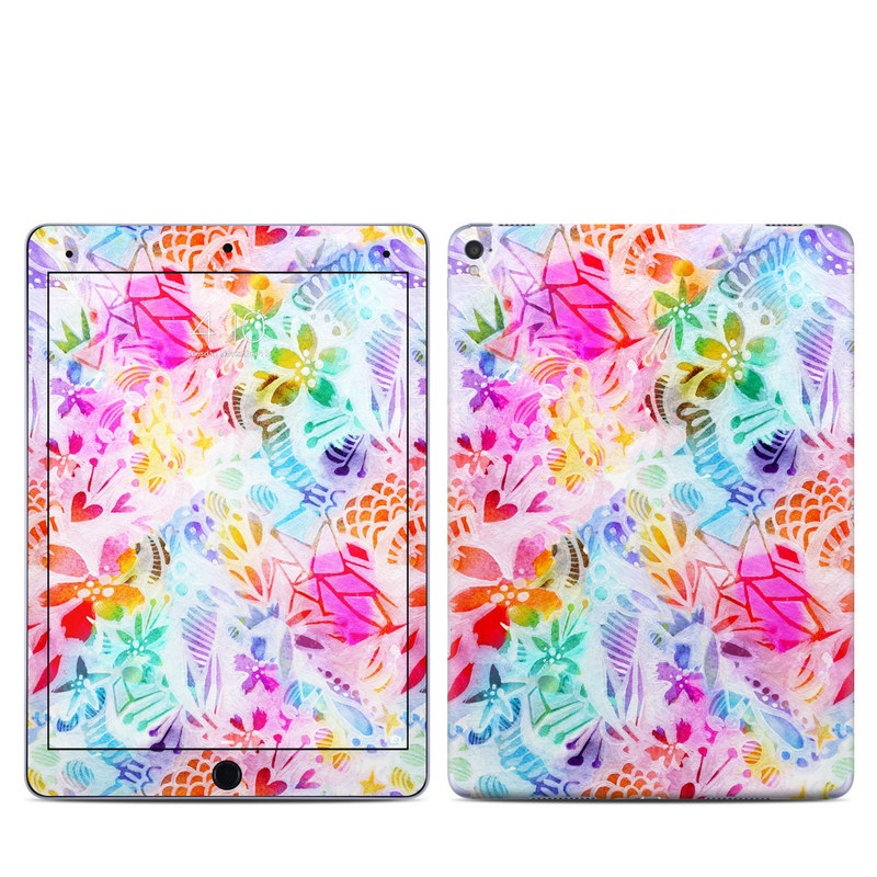 iPad Pro 9.7-inch Skin design of Pattern, Design, Textile, Art with gray, pink, purple, blue colors