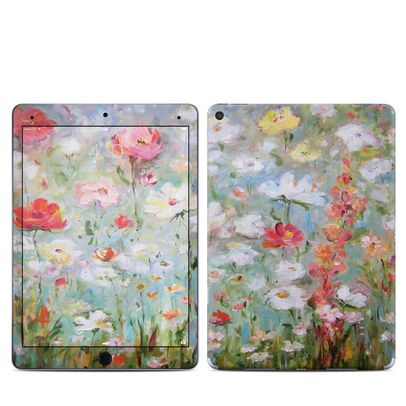iPad Pro 9.7-inch Skin design of Flower, Painting, Watercolor paint, Plant, Modern art, Wildflower, Botany, Meadow, Acrylic paint, Flowering plant with gray, black, green, red, blue colors