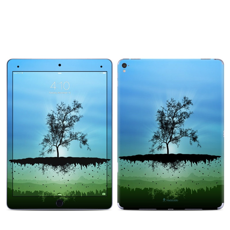 iPad Pro 9.7-inch Skin design of Natural landscape, Nature, Sky, Reflection, Tree, Blue, Water, Green, Atmospheric phenomenon, Calm with blue, black, gray, green colors