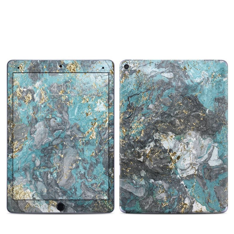 iPad Pro 1st Gen 9.7-inch Skin design of Blue, Turquoise, Green, Aqua, Teal, Geology, Rock, Painting, Pattern with black, white, gray, green, blue colors