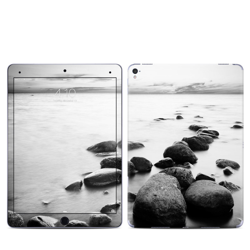 iPad Pro 9.7-inch Skin design of Body of water, Monochrome photography, Black-and-white, White, Rock, Nature, Water, Shore, Black, Sea with gray, white, black colors