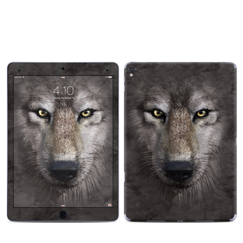 iPad Pro 9.7-inch Skin design of Vertebrate, Mammal, Wolf, Canidae, Wildlife, Snout, Czechoslovakian wolfdog, Eye, Wolfdog, Canis with black, gray, red, green colors