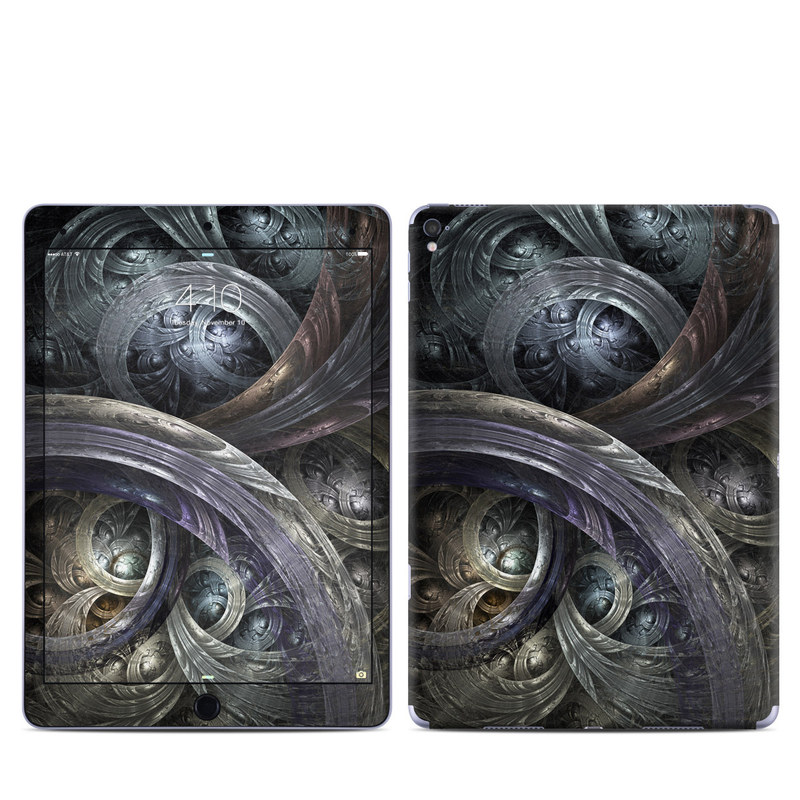 iPad Pro 9.7-inch Skin design of Fractal art, Graphic design, Art, Cg artwork, Darkness, Circle, Pattern, Illustration, Graphics, Metal with black, gray, blue colors