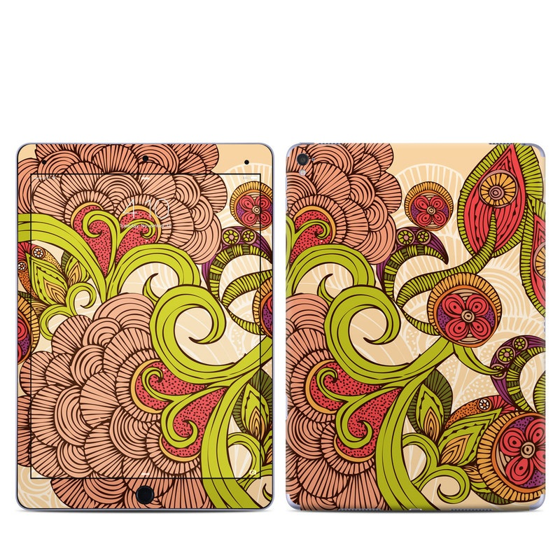 iPad Pro 9.7-inch Skin design of Pattern, Floral design, Motif, Visual arts, Illustration, Design, Paisley, Art, Circle, Plant with red, green, pink, black, gray colors