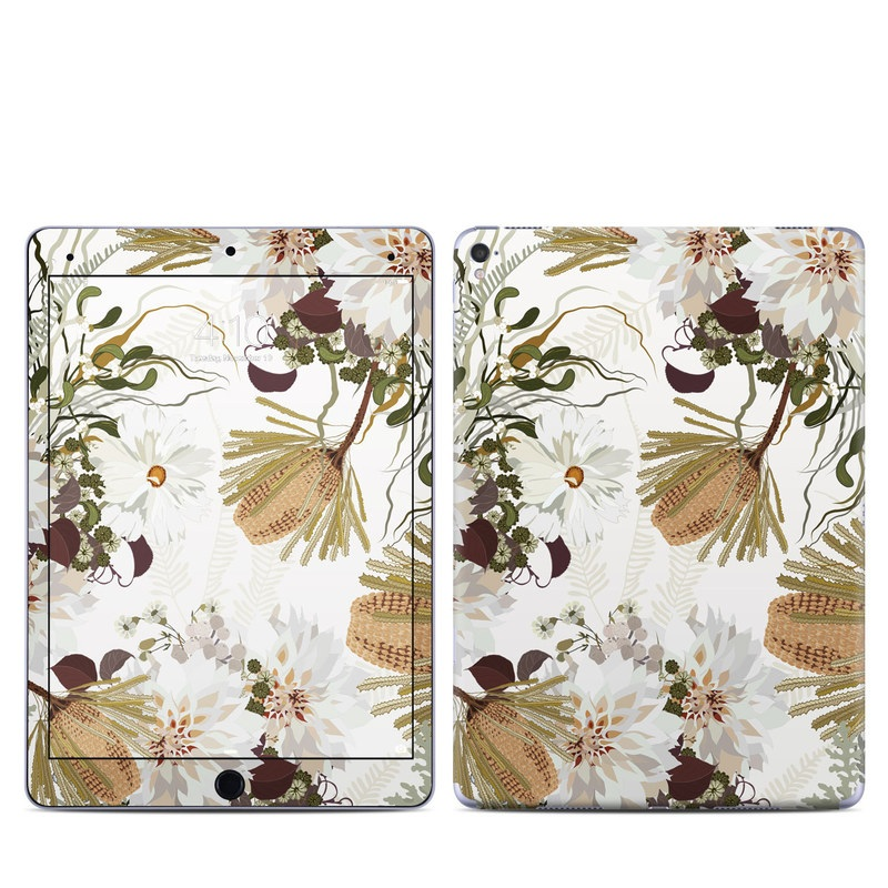 iPad Pro 9.7-inch Skin design of Flower, Botany, Plant, Floral design, Wildflower, Pattern, Wallpaper, Textile, Petal, Butterfly with white, brown, green, gray colors
