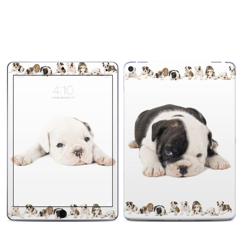 iPad Pro 9.7-inch Skin design of Dog, Vertebrate, Dog breed, Canidae, Mammal, Old english bulldog, Toy bulldog, Puppy, Bulldog, Olde english bulldogge with white, gray, black, pink, yellow colors