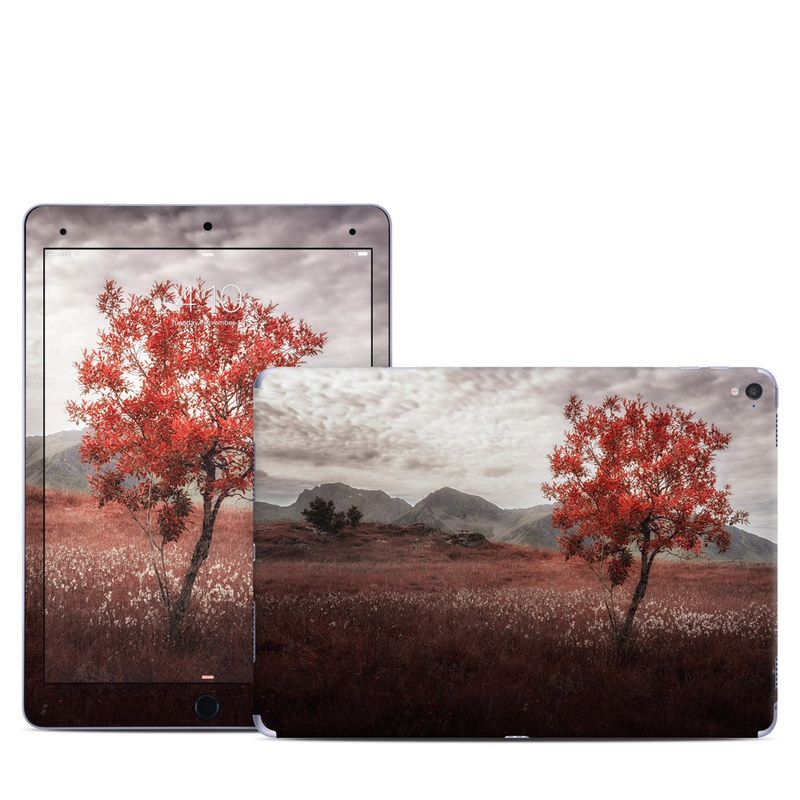 iPad Pro 9.7-inch Skin design of Natural landscape, Nature, Tree, Sky, Red, Natural environment, Atmospheric phenomenon, Leaf, Cloud, Woody plant with black, gray, red colors