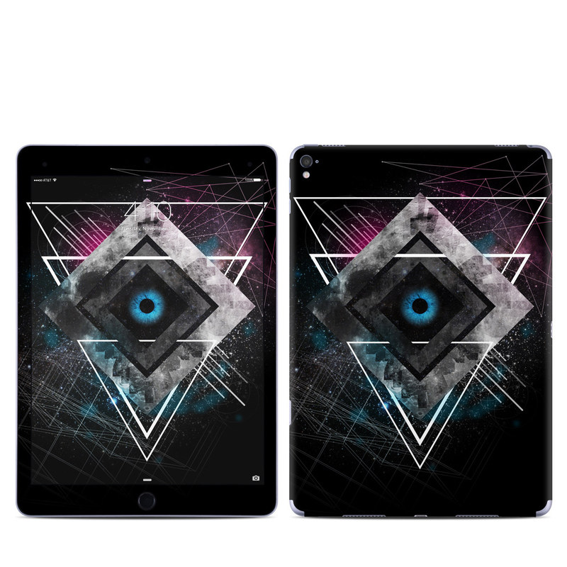 iPad Pro 9.7-inch Skin design of Graphic design, Design, Pattern, Graphics, Illustration, Font, Circle, Triangle, Fractal art, Logo with black, gray colors