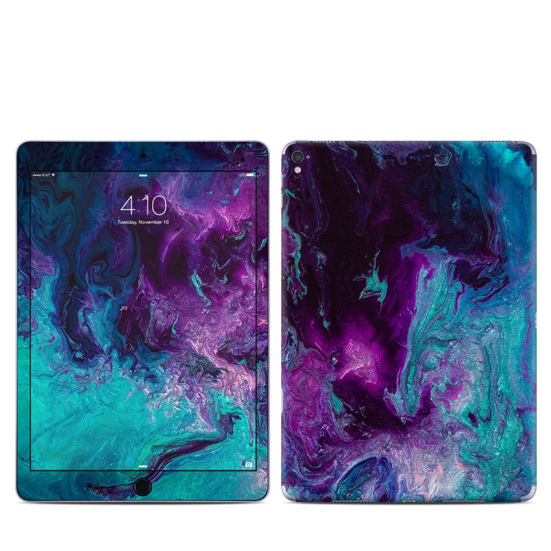 iPad Pro 1st Gen 9.7-inch Skin design of Blue, Purple, Violet, Water, Turquoise, Aqua, Pink, Magenta, Teal, Electric blue with blue, purple, black colors