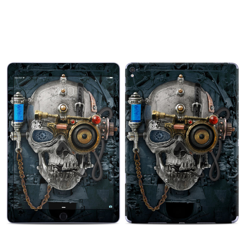 iPad Pro 1st Gen 9.7-inch Skin design of Engine, Auto part, Still life photography, Personal protective equipment, Illustration, Automotive engine part, Art with black, gray, red, green colors