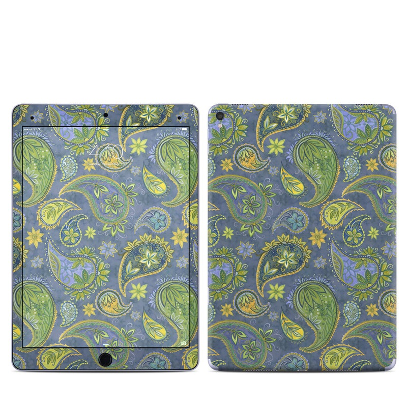 iPad Pro 9.7-inch Skin design of Pattern, Green, Paisley, Motif, Visual arts, Art, Design, Textile, Organism with green, gray, blue, black colors