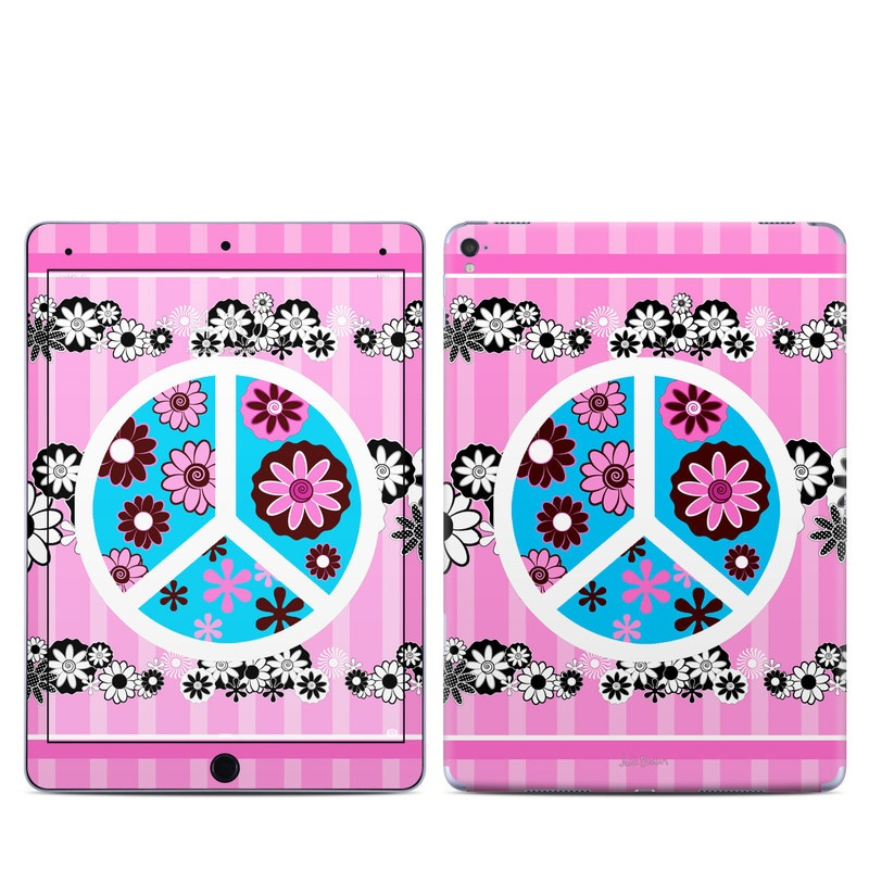 iPad Pro 9.7-inch Skin design of Pink, Pattern, Graphic design, Visual arts, Floral design with pink, gray, black, white, blue colors