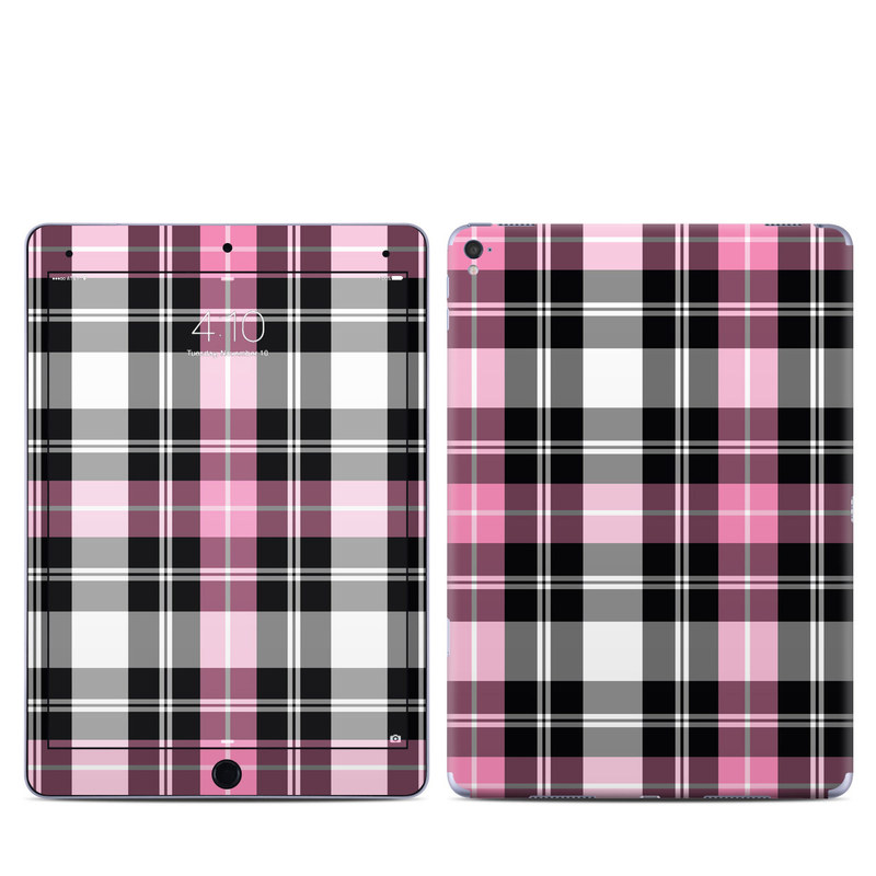 iPad Pro 9.7-inch Skin design of Plaid, Tartan, Pattern, Pink, Purple, Violet, Line, Textile, Magenta, Design with black, gray, pink, red, white, purple colors