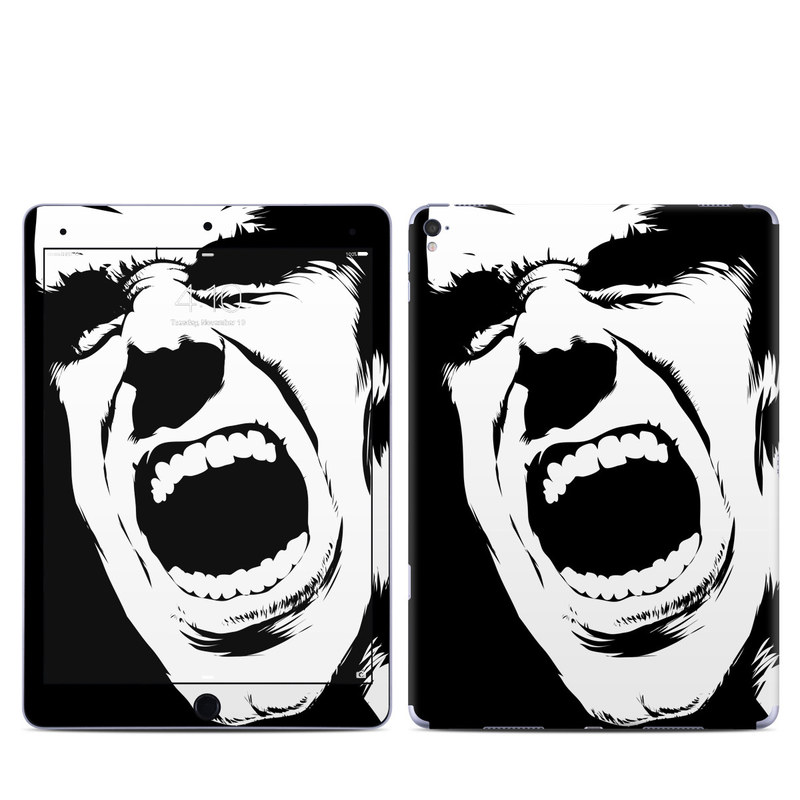 iPad Pro 9.7-inch Skin design of Face, Facial expression, Black-and-white, Shout, Mouth, Illustration, Font, Jaw, Monochrome, Smile with black, white, gray colors