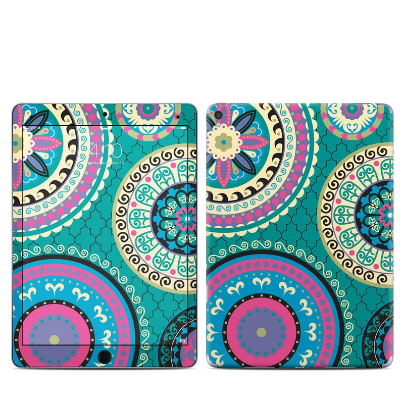iPad Pro 9.7-inch Skin design of Pattern, Turquoise, Teal, Circle, Visual arts, Design, Textile, Motif, Psychedelic art, Paisley with blue, gray, black, purple, pink colors