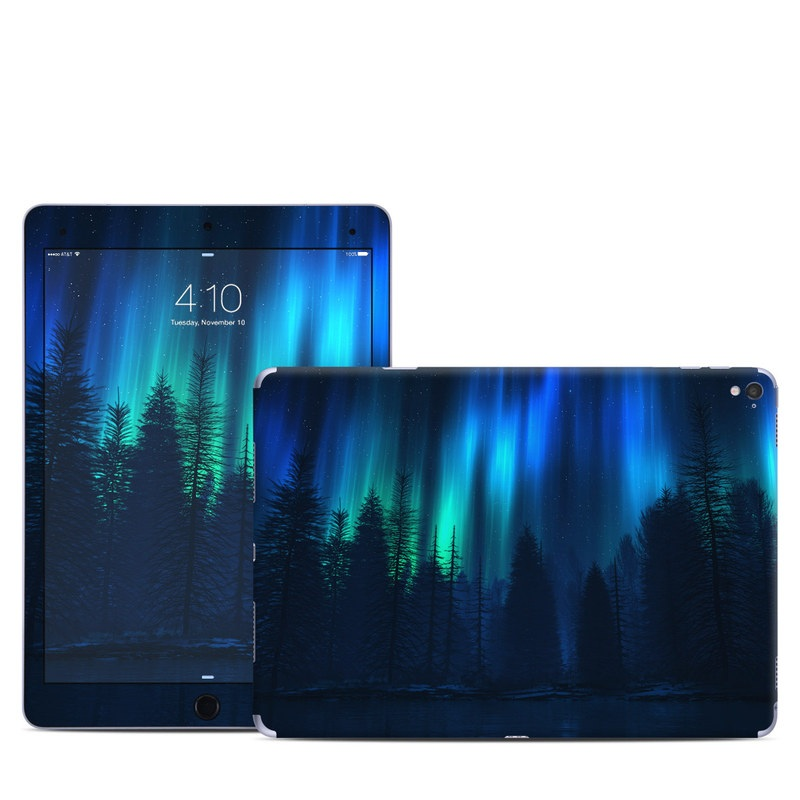iPad Pro 1st Gen 9.7-inch Skin design of Blue, Light, Natural environment, Tree, Sky, Forest, Darkness, Aurora, Night, Electric blue with black, blue colors