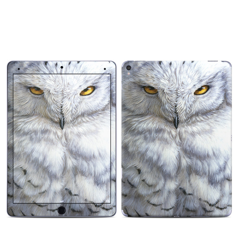 iPad Pro 1st Gen 9.7-inch Skin design of Owl, Bird, Bird of prey, Snowy owl, great grey owl, Close-up, Eye, Snout, Wildlife, Eastern Screech owl with gray, white, black, blue, purple colors