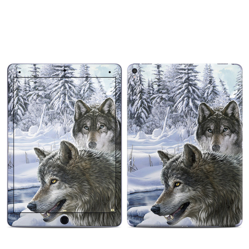 iPad Pro 9.7-inch Skin design of Mammal, Vertebrate, Wolf, Canidae, canis lupus tundrarum, Canis, Wildlife, Carnivore, Wolfdog, Dog with gray, black, blue, purple colors