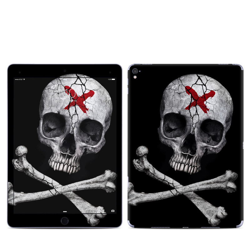 iPad Pro 1st Gen 9.7-inch Skin design of Bone, Skull, Skeleton, Jaw, Illustration, Animation, Fictional character, Still life photography with black, white, gray colors