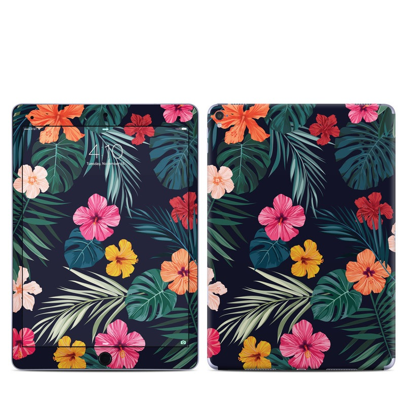 iPad Pro 1st Gen 9.7-inch Skin design of Hawaiian hibiscus, Flower, Pattern, Plant, Leaf, Floral design, Botany, Design, Hibiscus, Petal with black, green, red, pink, orange, yellow, white colors